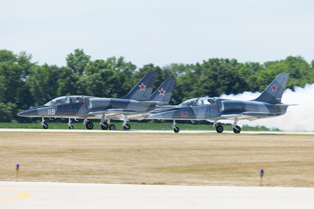 Indianapolis, Indiana, USA - June 23, 2012: Indianapolis Airshow, L-39 Albatros in formation, taking off