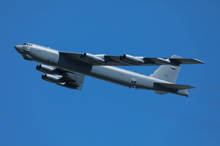 Boeing B-52 Stratofortress performing high speed low level past
