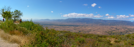 Monte Alban, Oaxaca, Mexico - the landscape view from the top of the Zapotec archaeological site.