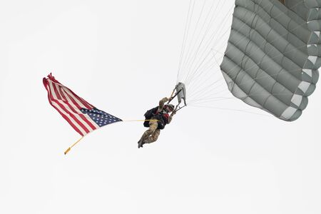 Louisville, Kentucky, USA - April 13, 2019: Thunder Over Louisville,  Members of the Special Tactics Squadron conduct a HALO jump into the Ohio river