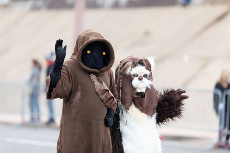 St. Louis, Missouri, USA - March 2, 2019: Bud Light Grand Parade, People dress up as Star Wars characters walking down 7th street during the parade