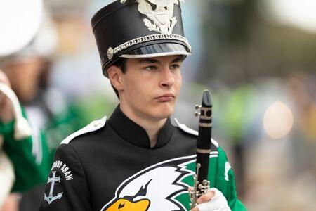 New Orleans, Louisiana, USA - February 23, 2019: Mardi Gras Parade, The Archbishop Shaw Eagle Band, performing at the parade Editöryel