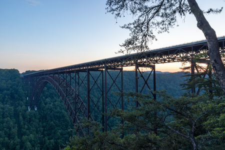 The New River Gorge Bridge at dusk, located at Victor, West Virginia, United States Of America