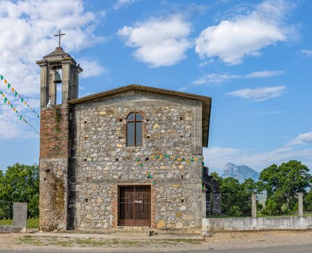 Small, old, Catholic Church located at the former country State, Hacienda de la Mesa, municipality of Hidalgo, Tamaulipas, Mexico Stock Photo
