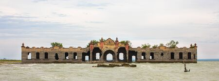 The old primary School Miguel Hidalgo, in the old town San Antonio de Padilla, emerges from the water during low tide of the Vicente Guerrero Dam