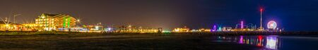 Galveston, Island city in the State of Texas, United States, view of the pier and gulf the coast at night. Stock Photo