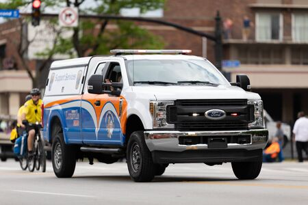 Louisville, Kentucky, USA - May 2, 2019: The Pegasus Parade,Unit from the support Services driving down the street during the parade