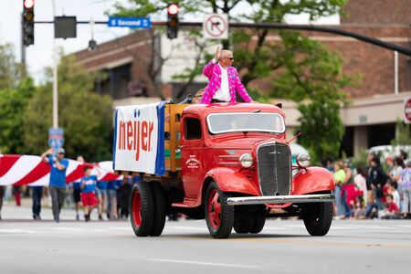 Louisville, Kentucky, USA - May 2, 2019: The Pegasus Parade, Old Meijer truck, promoting Meijer during the parade