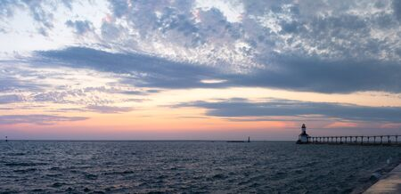 The Michigan City Breakwater Lighthouse, in the State of Indiana USA, as seen at Sunset