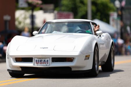 Buckhannon, West Virginia, USA - May 18, 2019: Strawberry Festival, Chevrolet, Corvette, classic car, going down main street during the parade 報道画像