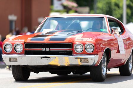 Buckhannon, West Virginia, USA - May 18, 2019: Strawberry Festival, Chevrolet, Chevelle, classic car, going down main street during the parade 報道画像
