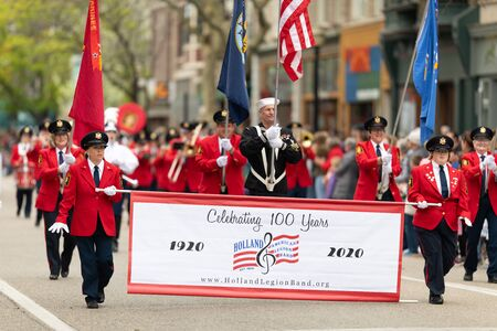 Holland, Michigan, USA - May 11, 2019: Tulip Time Parade, Members of the American Legion Band performing during the parade