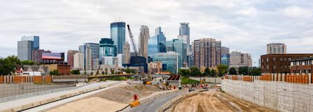Minneapolis, city in the state of Minnesota, United States of America, during the morning, and road construction
