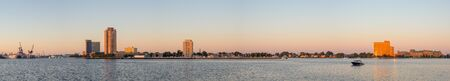 Portsmouth, city in the state of Virginia, United States of America, as seen across the Elizabeth River, in the morning Stock Photo
