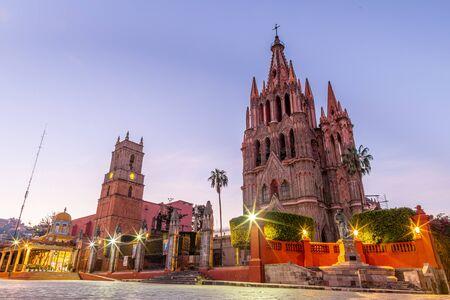 The Parroquia de San Miguel de Arcangel and La Santa Escuela de Cristo in San Miguel de Allende, Guanajuato, Mexico