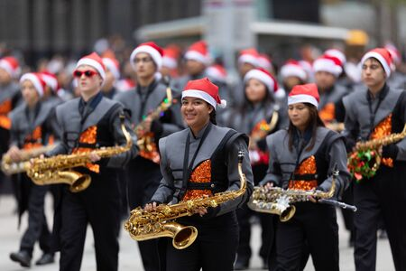Houston, Texas, USA - November 28, 2019: H-E-B Thanksgiving Day Parade, Members of the High School Marching Band Jacketeers, performing at the parade