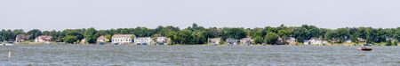 View of the Houses and boats at the Cedar Lake, Indiana, USA