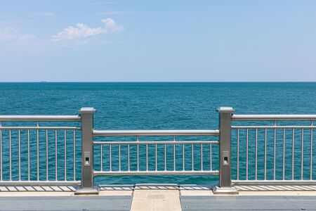The view of the lake Michigan at the end of a pier in Whiting, Indiana, USA