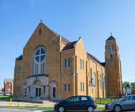 The St Adalbert Catholic Church in Whiting, Indiana, USA Imagens
