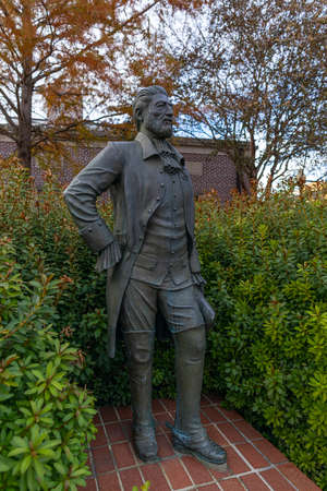Nacogdoches, Texas, USA - November 16, 2019: Statue of Gil Y'Barbo, founder of the city,