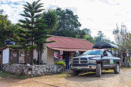 Alta cima, Tamaulipas, Mexico - December 25, 2018: Dodge Ram, carrying tourists stop at a shop in the mountain town