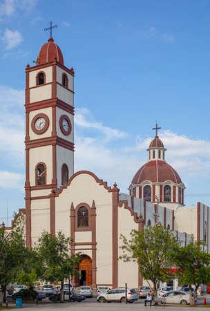 Ciudad Victoria, Tamaulipas, Mexico - July 2, 2019: Cathedral Del Sagrado Corazon de Jesus, in the Plaza del 15