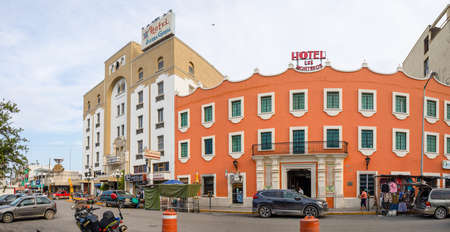 Ciudad Victoria, Tamaulipas, Mexico - July 2, 2019: the old Hotels of Monteros and Sierra Gorda at the Plaza Hidalgo