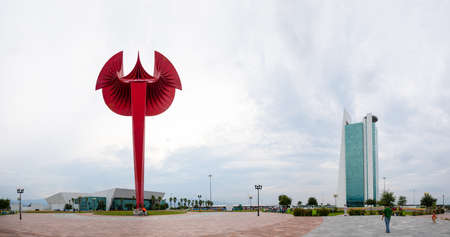 Ciudad Victoria, Tamaulipas, Mexico - July 2, 2019: The Park and Tower Bicentenario, government building of the State