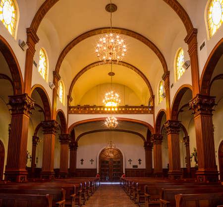 Ciudad Victoria, Tamaulipas, Mexico - July 2, 2019: Interior of the Cathedral Del Sagrado Corazon de Jesus, in the Plaza del 15 Editorial