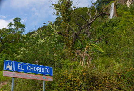 El Chorrito, Tamaulipas, Mexico, July 2, 2019: The Welcome Sign with the waterfall in view Editorial