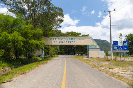 El Chorrito, Tamaulipas, Mexico, July 2, 2019: Sign welcoming visitors into the town Editorial