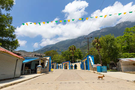 El Chorrito, Tamaulipas, Mexico - July 2, 2019: The streets of El Chorrito, town in the Sierra Madre Oriental Editorial