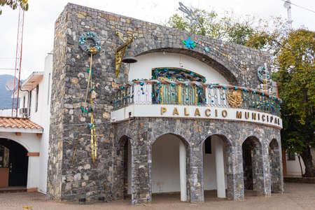 Gomez Farias, Tamaulipas, Mexico - December 26, 2018: The small Municipal Palace during Christmas