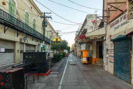 Matamoros, Tamaulipas, USA - November 20, 2019: view down Abasolo street, known as the Peatonal, with closed shops and restaurants