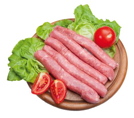 italian sausage: Italian sausage  on wooden cutting board with lettuce and tomatoes Stock Photo