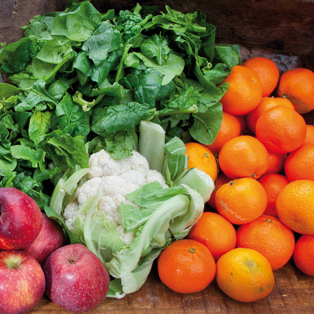 apples and oranges: composition of vegetables and fruits apples oranges and cabbage