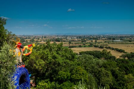 parapsychology: Garavicchio, near Pescia Fiorentina, communal village of Capalbio (GR) in Tuscany, Italy, designed by the French-American artist Niki de Saint Phalle, populated with statues inspired by the figures of the Major Arcana of the Tarot