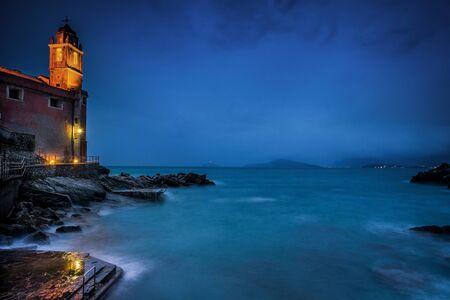 sea cliff: Italy, Liguria, La Spezia the Medieval village of Tellaro in the gulf of Poets