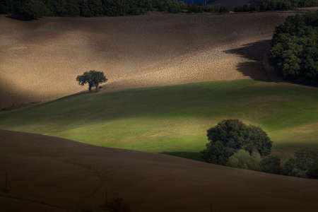 fraction: Casglia is a fraction of the town of Montecatini Val di Cecina in the province of Pisa, on a hilly outcrop overlooking the valley of Cecina and the Sterza river, from the top view of landscape Stock Photo