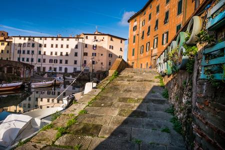 the merchant of venice: Livorno, The district of Venice (Quartiere Venezia) with its canals, bridges, merchant architectures