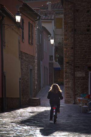 capraia: Capraia Island, Arcipelago Toscano National Park, Tuscany, Italy, backlight in the center of town