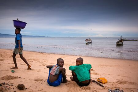 developing country: Yongoro, Sierra Leone, Africa - June 01, 2013: West Africa, the beaches of Yongoro in front of Freetown