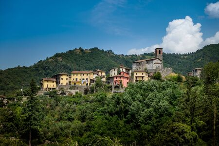 Garfagnana, Tuscany, Italy - ancient village of Ceserana view of the town with the medieval fortress