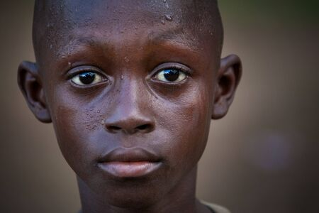 Yongoro, Sierra Leone - May 30, 2013: West Africa, the village of Yongoro in front of Freetown, portrait
