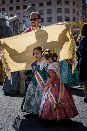 Valencia, Spain - March 16, 2008 - The Fallas Festival, feast of Saint Joseph with the floral offering to the Virgin Mary