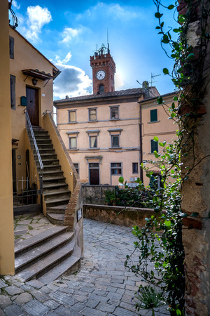 leghorn: Castagneto Carducci is one of the most popular towns on the Etruscan Coast, Leghorn, Italy, the town hall with staircase in the foreground Stock Photo