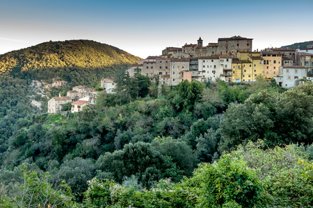 Sassetta is a small hamlet in the municipality of Castagneto Carducci, famous for chestnuts and wild boars, Leghorn, Italy Stock Photo