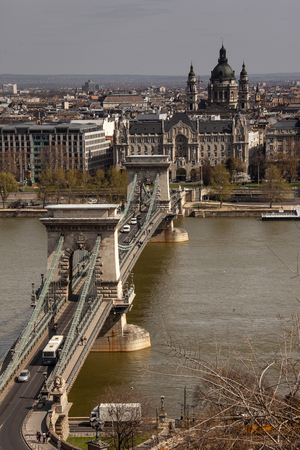 hotel chain: Budapest, capital of Hungary, Pest View with the Chain Bridge, Danube river, Gresham Hotel and the St. Stephen Basilica