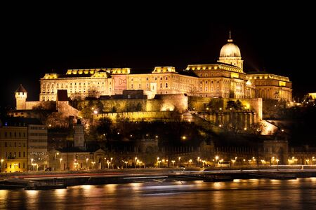 building a chain: Budapest, capital of Hungary, Buda Castle at night