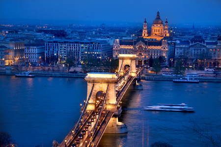 building a chain: Budapest, capital of Hungary, time blue night shot of Chain Bridge